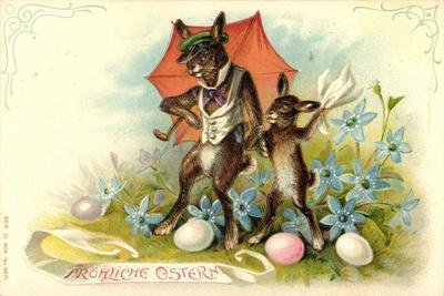 Präge Litho Frohe Ostern, Osterhasen,Eier,Schirm,Blumen