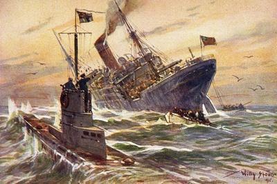 Künstler Stöwer, W., Deutsches U Boot Versenkt Schiff