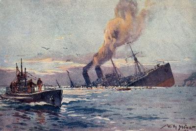 Künstler Stöwer, W., U Boot, Truppentransportdampfer