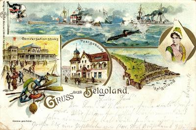 Litho Helgoland, Konversationshaus, Post, Insel, U Boot