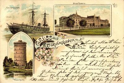 Litho Wilhelmshaven, Große Kaserne, Wasserturm, Schiff