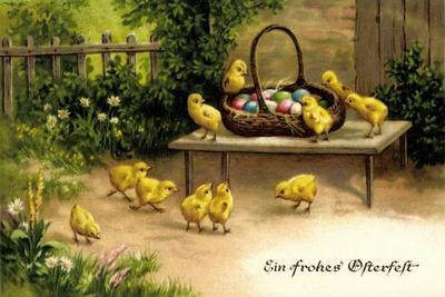 Glückwunsch Ostern, Korb Mit Ostereiern Und Küken