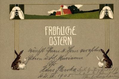 Präge Frohe Ostern, Osterhasen, Feld, Haus, Blumen