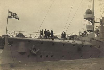 Foto Deutsches Kriegsschiff Am Hafen, Detailansicht