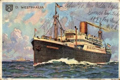 Künstler Hapag, Dampfschiff Westphalia in Fahrt