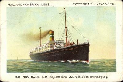 Hapag, D.D. Noordam, Dampfschiff in Fahrt