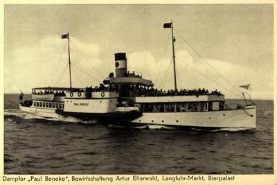 Blick Auf Den Dampfer Paul Benecke Auf See