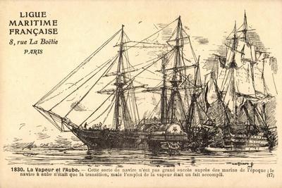 Künstler Segelschiff, Vapeur Et L'Aube, Dampfer,1830