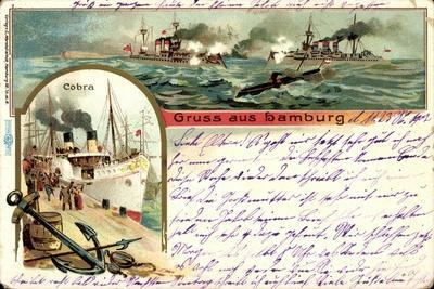 Litho Hamburg, Dampfer Cobra, U Boot, Kriegschiffe