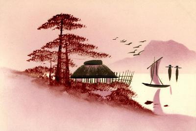 Gold Japanische Landschaft, Boot, Berg