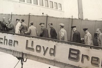 Foto Norddeutscher Lloyd Bremen, Dampfer, Gangway