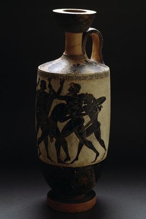 Attic Black-Figure Ceramic Vase Depicting Battle Scene