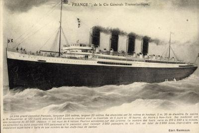 Dampfschiff France Der Cgt Linie in Fahrt, Meer