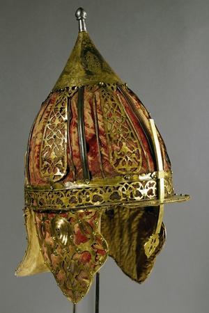 Shishak, Ottoman Helmet in Steel, Copper, Leather, Velvet and Silk, End of 17th Century