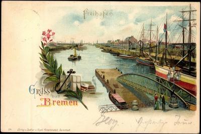 Litho Bremen, Freihafen, Anlegende Schiffe, Steg