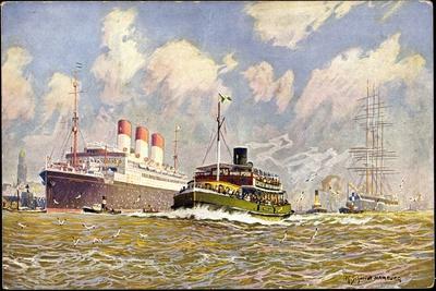 Künstler Schmidt, R., Dampfer Cap Polonio Im Hafen