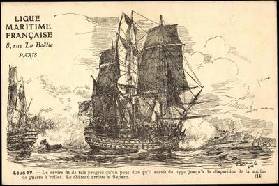 Künstler Segelschiff, Lous XV, Seeschlacht, Kanonen