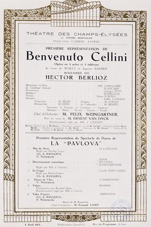 Playbill of Benvenuto Cellini by Hector Louis Berlioz, Theatre Des Champs-Elysees, 1913