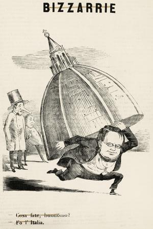 Camillo Benso, Count of Cavour in Satirical Cartoon Published by Magazine L'Arlecchino