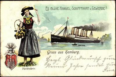 Hamburg, Vierländerin, Dampfschiff Deutschland