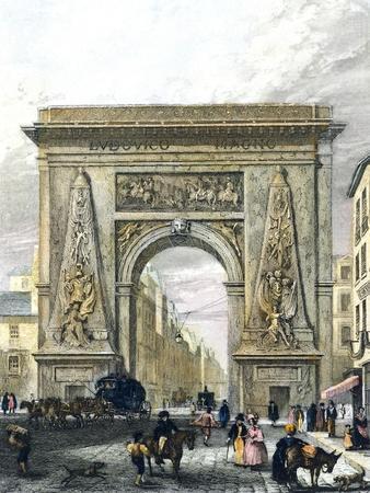 Saint Denis Gate, Paris, France 19th Century Engraving