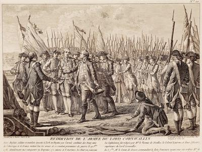 British General Charles Cornwallis Surrendering Arms to French and Americans