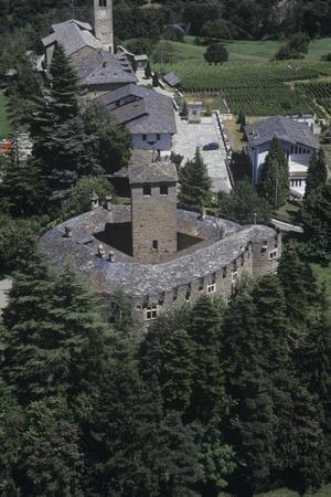 Italy, Aosta Valley, Castle of Introd, Aerial View