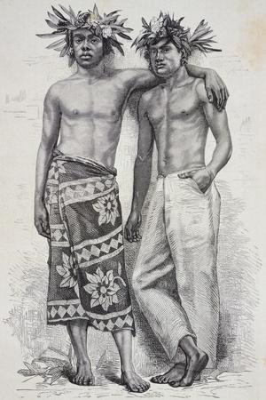 Traditional Costumes from Tahiti, 1880