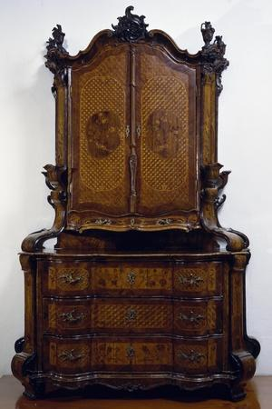 Double Body Sideboard, Carved and Inlaid, from Mainz, Germany