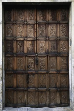 Walnut Wood Main Entry Door Created by Sculptor Matteo Sanmicheli, Circa 1518-28
