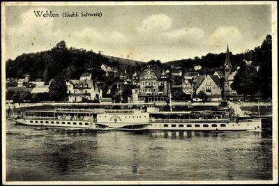 Wehlen Elbe, Sächs. Schweiz, Dampfer Dresden, Ort