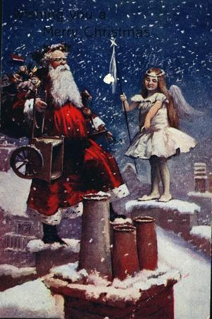 Wishing You a Merry Christmas, Christmas Card, C.1905-1910 with Father Christmas and a Fairy
