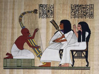 Egyptian Papyrus Depicting Husband and Wife at Blind Harpist Performance