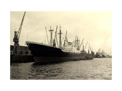 Foto Dampfschiff Wiesbaden Im Hafen, Dockkräne