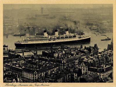 Hamburg, Dampfschiff Cap Arcona, Ausreise, Vogelsicht