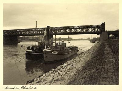 Mannheim,Blick Auf Rheinbrücke,Fluss,Dampfer Jackl Und Sacrapuer