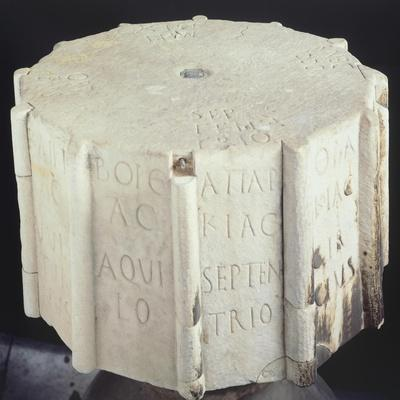 Marble Base from an Anemometer Engraved with the Cardinal Points
