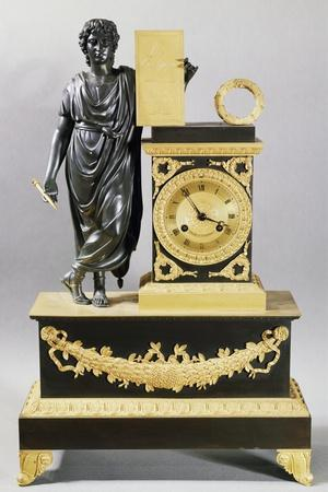 Gilt Brass Pendulum Clock and Figure of Virgil with Stylus and Tablet, France