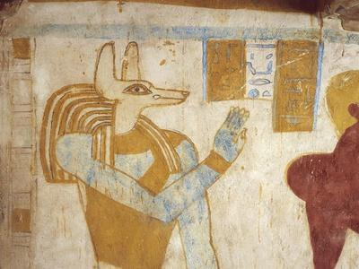 Egypt, Bahariya Oasis, Tomb of Pa Nentwy, Detail of Mural Paintings of the Late Period