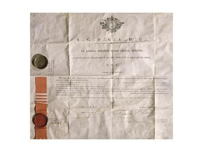 Masonry, Diploma with the Brescia Amalia Augusta Masonic Lodge Ribbon, Italy