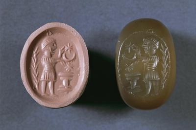 Seal Depicting Male Figure in Front of Votive Altar