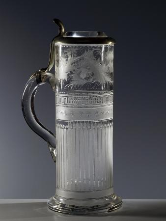 Beveled Glass Mug with Pewter and Crystal Lid, Germany, Early 20th Century