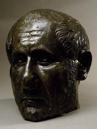 Bronze Head of Statue of Trajan Decius. Roman Civilization