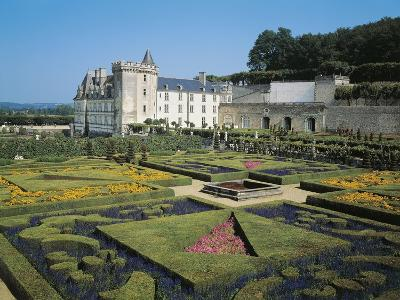 France, Centre, Villandry Castle, View with Renowned 16th Century French Gardens