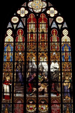 Stained-Glass Window from Brabantine Gothic Style, St Michael and St Gudula Cathedral, Belgium