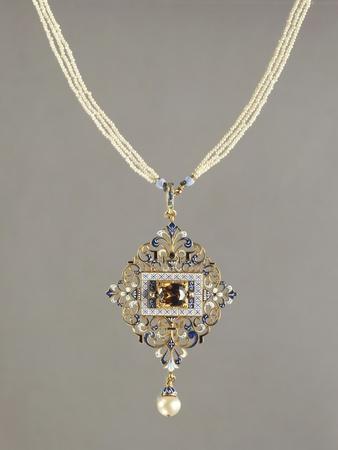 Enamelled Gold Pendant Set with Precious Stones