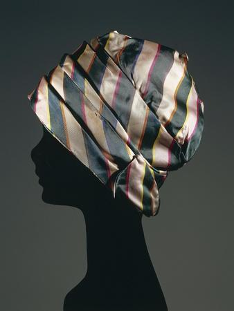 Turban Hat in Striped Silk, 1965-1970