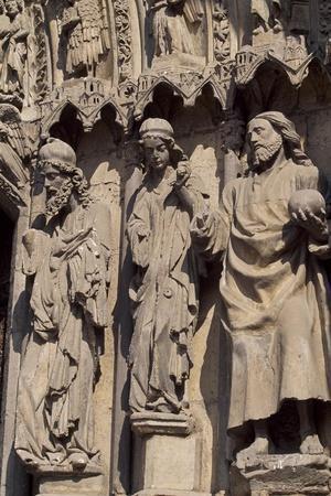 Spain, Castile and Leon, Leon, Cathedral of Santa Maria De Regla, Ornate Facade Detail