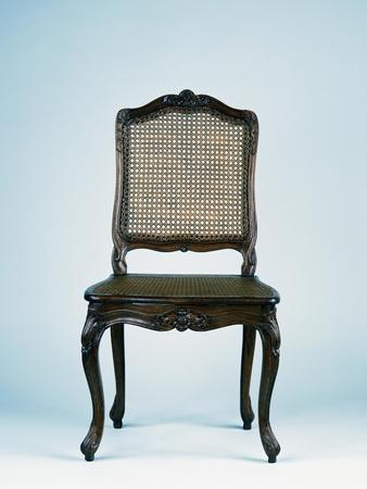 Regency Style Carved Wood Dining Room Chair with Wicker Seat and Back, Stamped Frc Reuze, France
