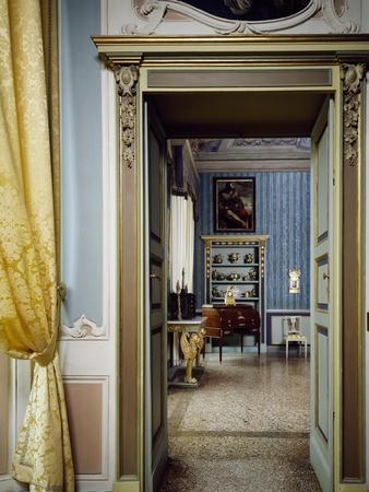 Glimpse of Empire Hall, Palazzo Costa, Piacenza, Emilia-Romagna, Italy